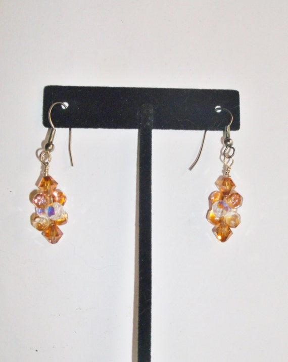 Handmade Earrings Topaz and Clear Swarovski Crystal Everyday Work Fall Autumn Birthday Gift Special Occasion Custom Orders