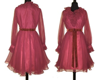 Vintage 1960s Dress . Miss Elliette . Full  Skirt Femme Fatale Garden Party Mad Man Prom Pinup Bombshell Rockabilly Ballerina