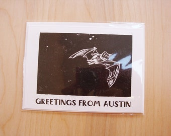 Blank Greetings from Austin Bat Greeting Card Black