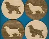 Wood Coasters Irish Setter Dog - Laser Cut Inlaid Set of Four (CI-235)