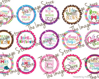 Cute Sayings Bottlecap image sheet