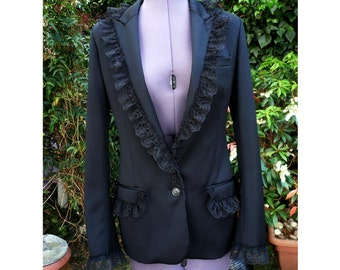 victorian jacket steampunk jacket upcycled repurposed back corset style lacing lace trim