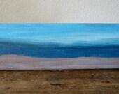 Modern Ocean 4x12 Inch Canvas Original Acrylic Painting