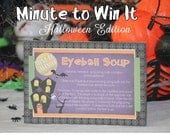 Minute To Win It Halloween Edition Printable - Family Game Night, Classroom Party Halloween Party INSTANT DOWNLOAD