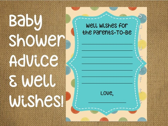 baby shower game well wishes and advice for the parents cards