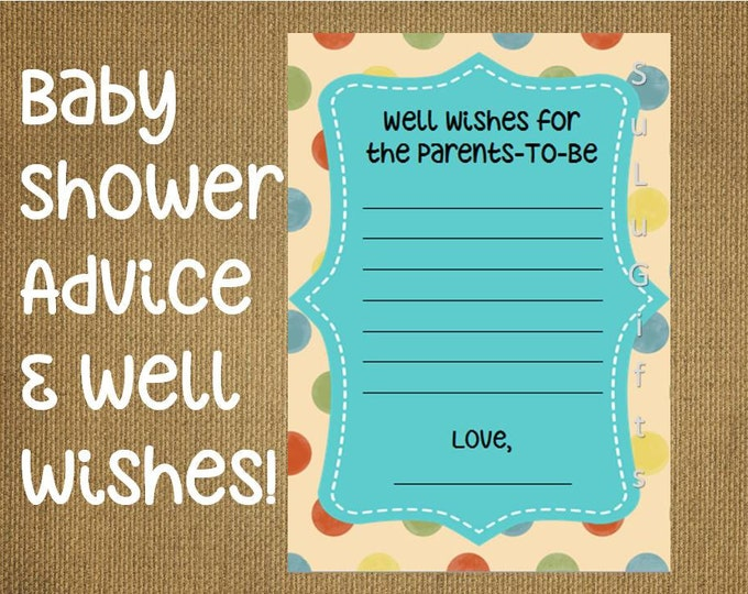 Baby Shower Game Well Wishes and Advice For The Parents Cards ~ Instant Download Printable PDF File ~ Happy Dots Design