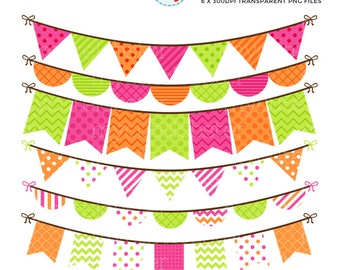 Bunting Clipart Set - clip art set of pink, orange and green bunting - personal use, small commercial use, instant download