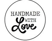 24 Handmade with Love - Kraft or White round labels/seals - 1""