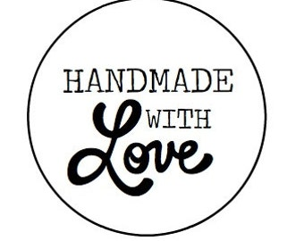 """24 Handmade with Love - Kraft or White round labels/seals - 1"""""""