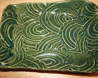 Green pottery tray, fruit dish, soap dish, trinket tray