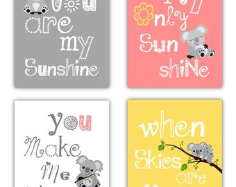 Koala Art Prints // You are my sunshine Art Prints // Koala Nursery Decor // Cute art for Girls Room // 4-8x10