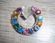 1950s Uncas Curtman Round Double Hearts Multi Colored Gem Sterling Silver Brooch