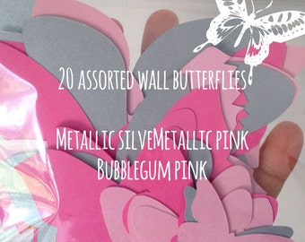 20 assorted wall butterflies for nursery or room decor