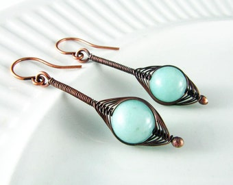 Wire Wrapped Earrings Copper Wire Jewelry Pale Blue Amazonite Semiprecious Stone Dangle Earrings Wire Wrapped Jewelry Copper Earrings