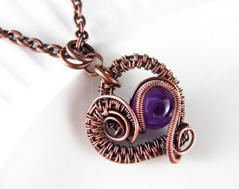 Wire Wrapped Pendant Heart Necklace Amethyst and Copper Jewelry Wire Wrapped Jewelry Copper Necklace Free Form Amethyst Necklace