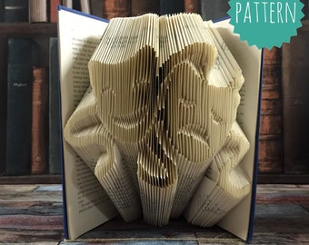 Folded Book Art Tragedy & Comedy Drama Masks Pattern tutorial, gift, home, decoration, love