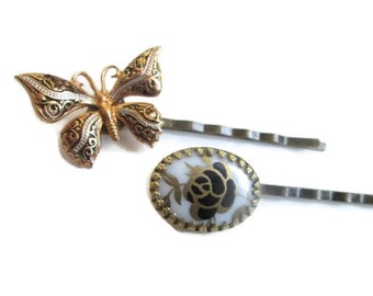 Butterfly Bobby Pins Vintage Jewelry Hairpins Wedding Prom Hair Accessory