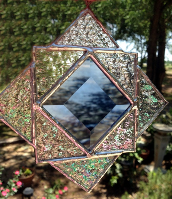 Contemporary Stained Glass Suncatcher Geometric By