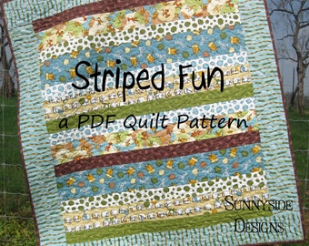Striped Quilt Pattern Fun Easy Quick Simple Baby Toddler Lap Size Sewing Quilting Stripes Strips Modern Traditional Sunnyside Designs