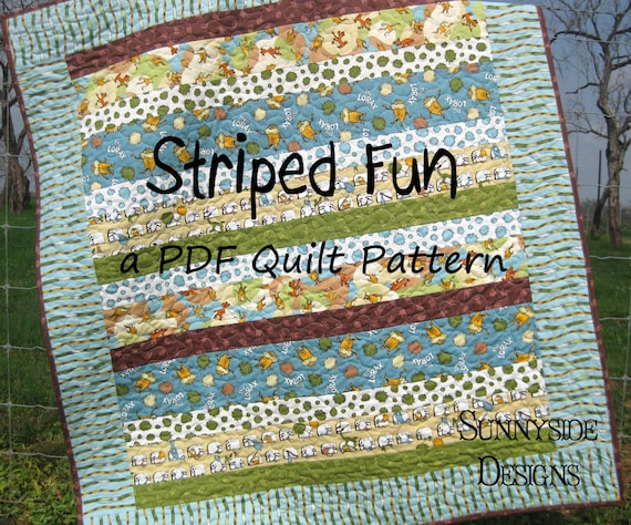 Striped Quilt Pattern Fun Easy Quick Simple Baby Toddler Lap