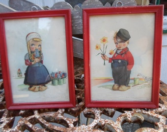 Vintage Red Wood Pictures Set of Two Little Girl and Boy Colors Daffodils/Hyacynth Volendam and Marken, Netherlands 1950s to 1960s Kids