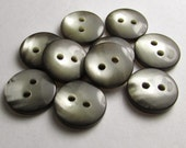 """Smoky Gray/Taupe Glow: 7/16"""" (11mm) Buttons - Set of 10 Matching New / Unused Buttons"""