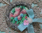 Retro Pink and Aqua Christmas Flowers.. Hanging  Feather Tree Wreath Ornament