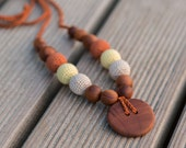 Nursing Necklace in Light Yellow, Oatmeal and Rusty - Apple Wood