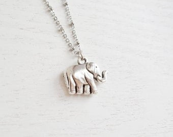 Lovely Elephant Necklace,Animal Jewelry,Silver Puffy Elephant,3D Elephant,Birthday,Christmas,Good Lucky Necklace,Cute Elephant,BFF,Birthday