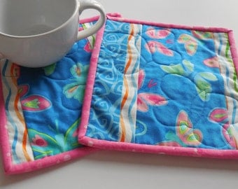Butterfly Mug Rugs-Reversible-Free Shipping to US and Canada