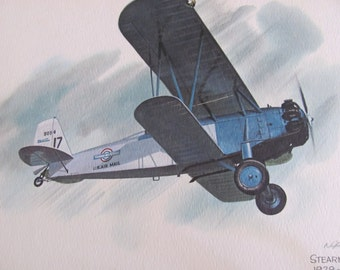 Vintage United Airlines Print Poster - Stearman M-2 Speedmail 1929-1930  - Galloway