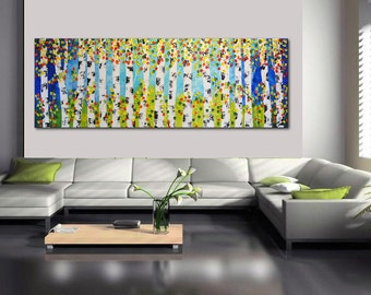"""large abstract trees 72"""" Huge Painting, Original Abstract, XXL Aspen Painting, Large Forest Painting, Birch forest, Blue Green Trees"""