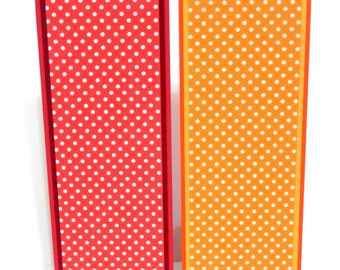 Red and Orange Polka Dots: Paper Bookmarks Set of 2- approx. 2 1/2 x 7 inches