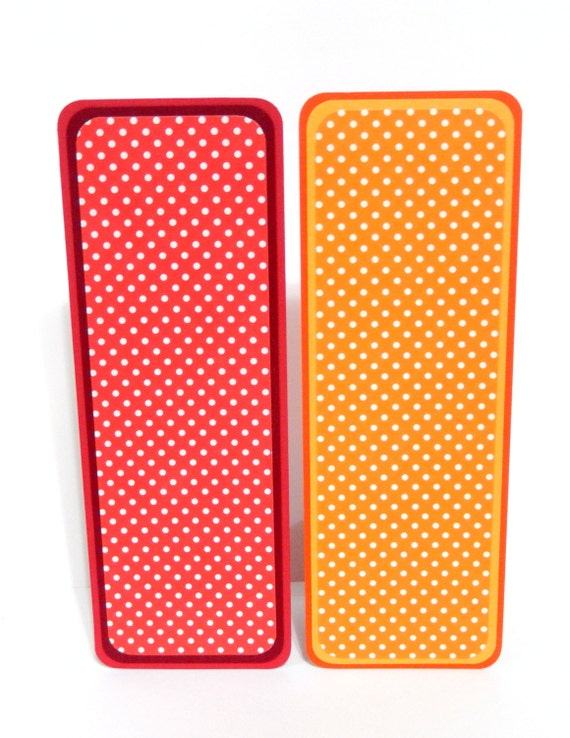 Paper Bookmarks- Red and Orange Polka Dots: Set of 2- approx. 2 1/2 x 7 inches