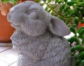 Rabbit Statue, Petite Concrete Happy Bunny Figure, Cement Garden Decor