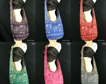 Cotton Hippie Hobo Sling Crossbody Bag Messenger Purse Elephant Small in Teal Navy Blue Mustard Pink Grey  / You Pick Color
