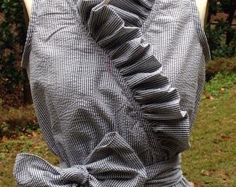 Aly, Plus Size Women's Seersucker Ruffle Dress