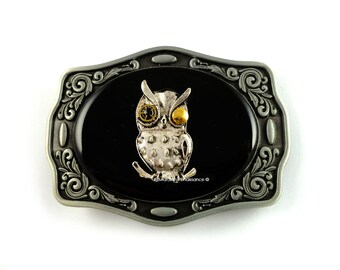 Steampunk Owl Belt Buckle Inlaid in Hand Painted Glossy Black Onyx Enamel Robot Owl with Gear and Cog Eyes Custom Colors Available