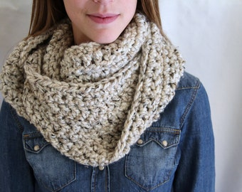 Crochet Infinity Scarf - Oatmeal - Fashion Accessories - Chunky Knit Scarf -Choose Your Color