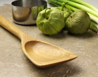 Hand made wooden roux spoon kitchen utensil of  Maple wood flat ended  for scrambling eggs