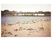 Santa Cruz Photo. Tilt Shift Photography. Beach art. Summer. Ocean. People on beach. Vintage photography. retro. beach home decor