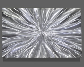 Abstract Silver Metal art contemporary colour light reflect Wall Decor vertical horizontal shiny sculpture modern original hand made by Lubo