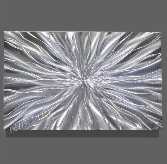 Vertical Metal Wall Decor : Abstract silver metal art contemporary colour light reflect