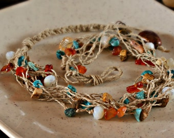 Spring Vines Turquoise Carnelian Picture Jasper Multistrand Cotton Linen Necklace from SPRING Collections
