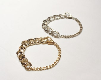 Metal chain bracelet  in gold or silver color