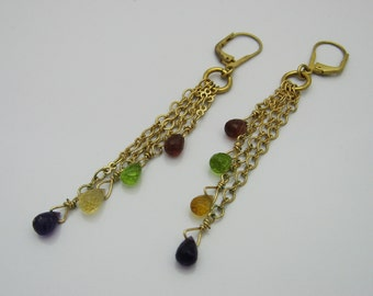 Gold Dangle Earrings, Gold Gemstone Earrings, Gold Chain Earrings, Garnet Earrings, Amethyst Earrings, Peridot Earrings, Citrine Earrings