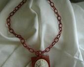 Vintage Bake Lite Cameo Necklace 1930