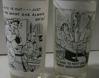 2 vintage comical risque cartoon highball glasses