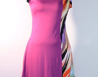 Colored Blocked Sleeveless Knit Dress