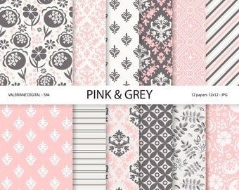 Pink and Grey Digital Paper scrapbook papers, floral and damask digital backgrounds,  12 jpg files 12x12 -  Pack 584